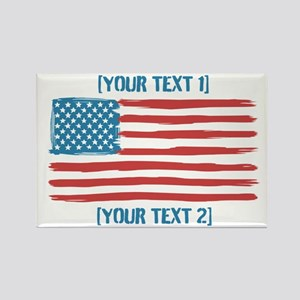[Your Text] 'Handmade' US Flag Rectangle Magnet